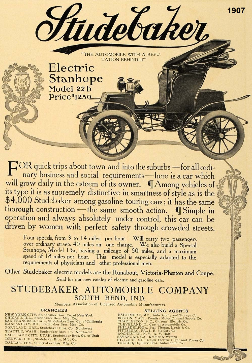1907 Studebaker Electric Stanhope Model 22b