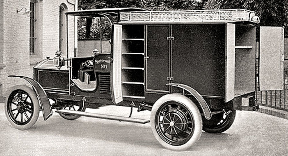 1908 mercedes electric food transporter