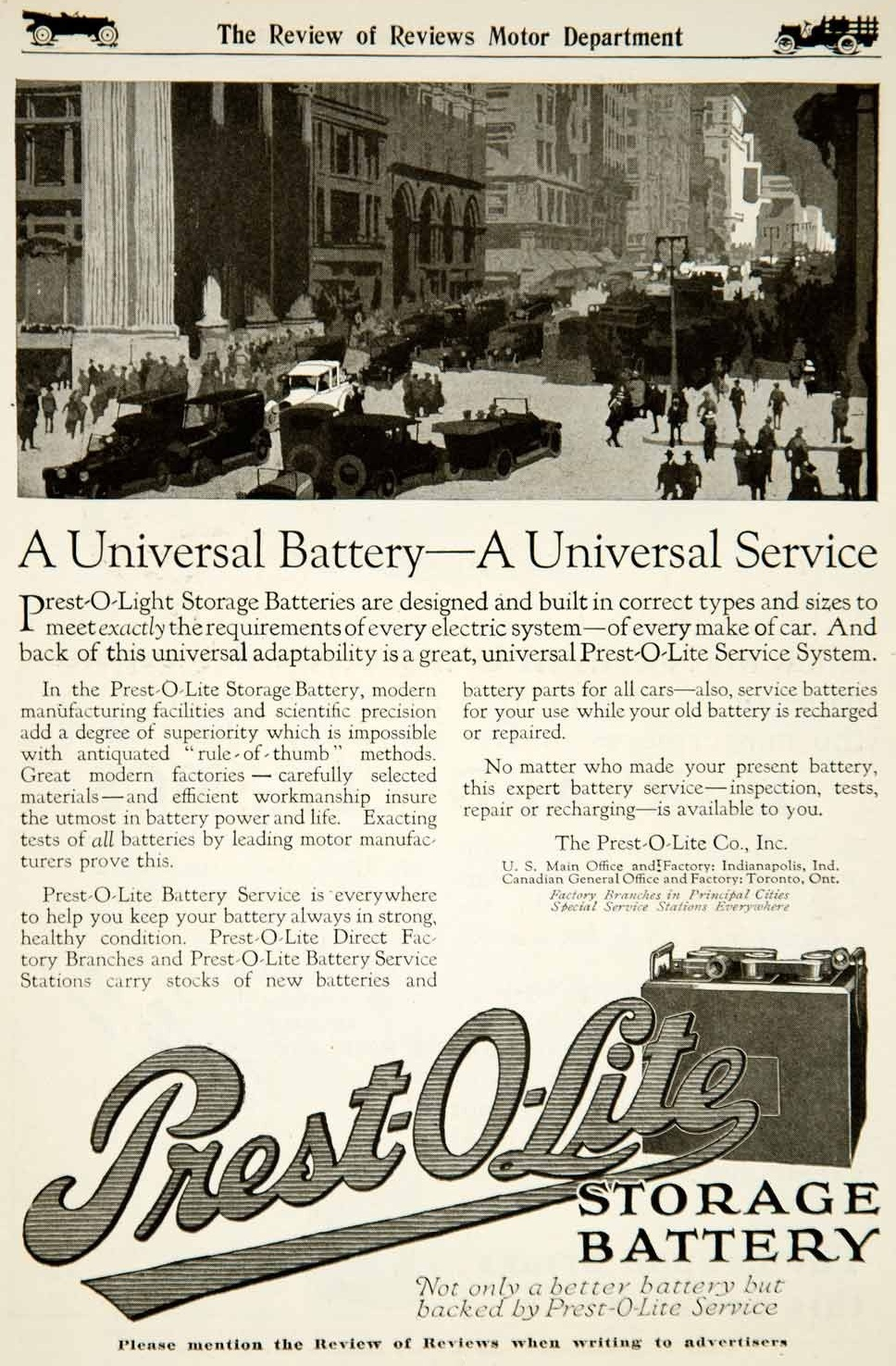 1917 Prest O Lite Electric Storage Battery