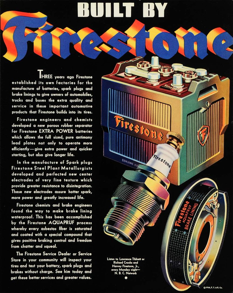 1934 Firestone Car Batteries Parts Steel Braking