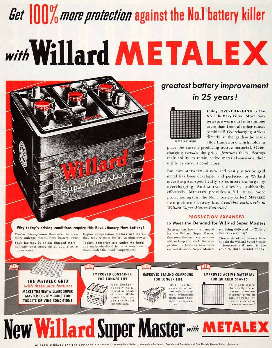 1951 Willard Super Master Car Battery Metalex