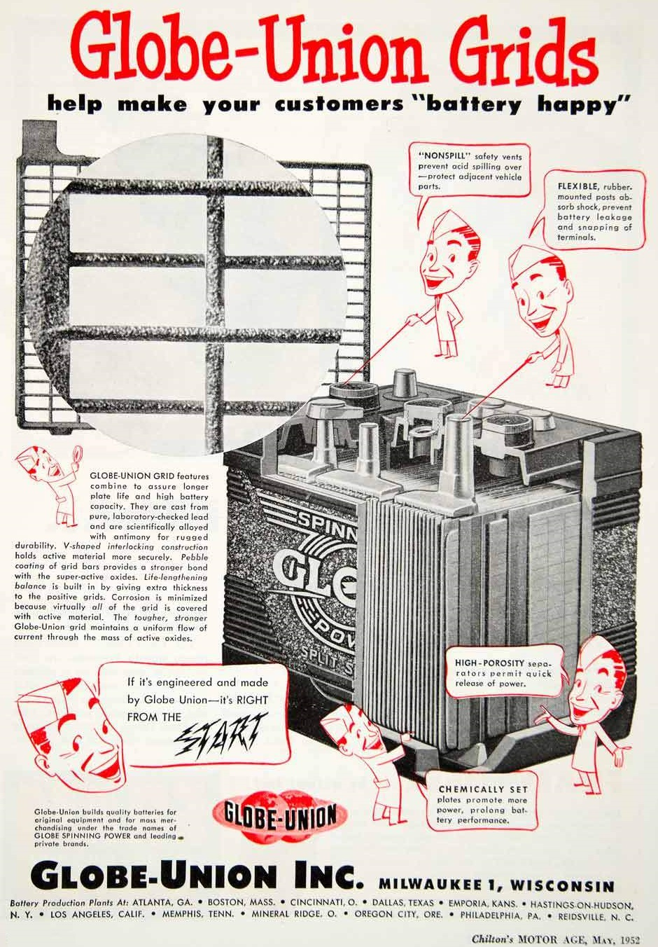 1952 Globe Union Grids Milwaukee battery